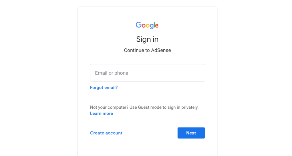Sign-in-AdSense-acc